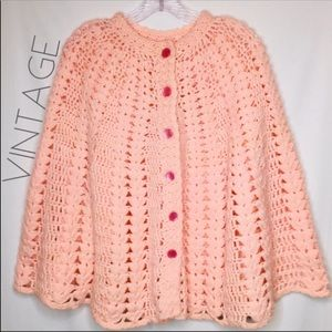 Vintage knitted crochet poncho cape S M L XL